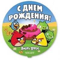 """Ф 18"""" Angry Birds С днём рождения/FM"""