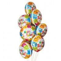 """Букет из 9 шаров """"С Днем Рождения """" Вечеринка"""