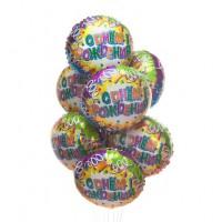 """Букет из 9 шаров """"С Днем Рождения!"""" Свечи и ленты"""