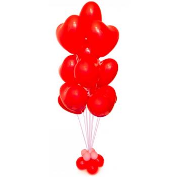"""Фонтан из шаров """"Алые сердца"""""""