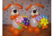 """Фигуры из шариков """"Собачки с цветами"""""""