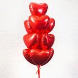 """Шары с гелием """"Фольгированные сердца красные"""" 10 шт."""