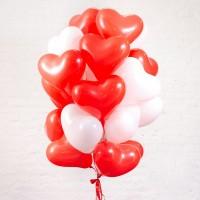 """Шары с гелием """"Сердца красные и белые"""" 25 шт."""