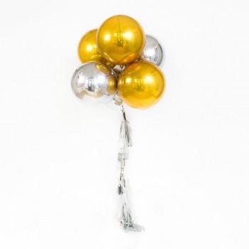 "Композиция из шариков ""3D серебро и золото"""