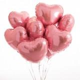 "Облако из шариков ""Розовые сердца"" 9 шт."