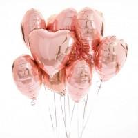 """Облако из шариков """"Сердца розовое золото"""" 9 шт."""