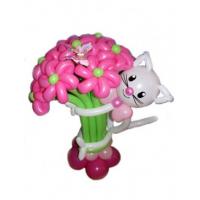 Букет розовых цветов с котенком из 20 шт.цветов