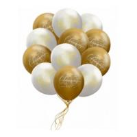 Букет шаров Золотой с Белым 50 шт