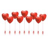 9 фольгированных сердец на грузиках