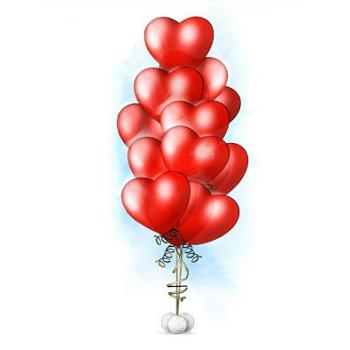 """Фонтан из шаров """"15 сердец"""""""